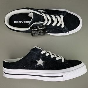 Converse One Star Mule Suede Slip On Shoes Black